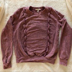 eri + ali peplum detailed crew neck sweatshirt